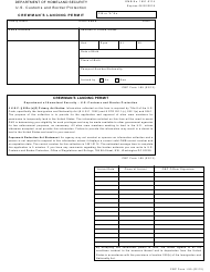 CBP Form I-95 Crewman's Landing Permit