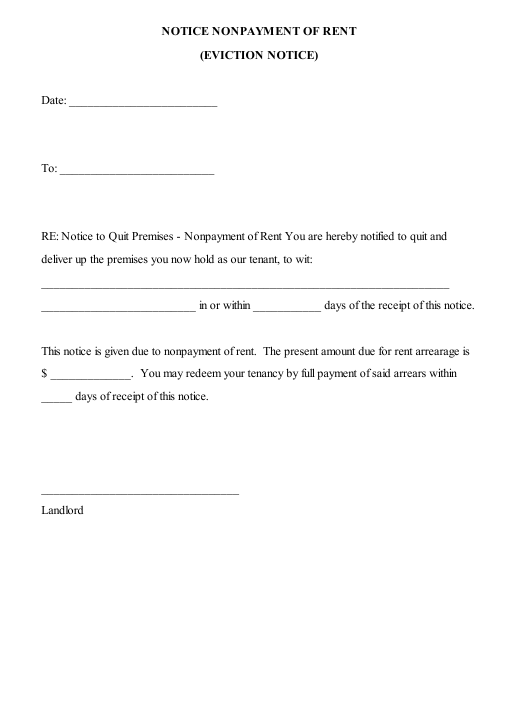Sample Eviction Letter For Nonpayment Of Rent from data.templateroller.com