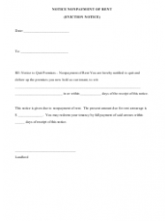 Notice Nonpayment of Rent - Eviction Notice Form