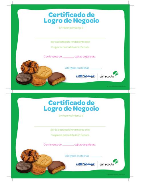 """""""Certificado De Logro De Negocio"""" (Spanish) Download Pdf"""