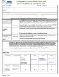 "Form DDS-1207 ""Commercial Driver Self-certification Form"" - Georgia (United States)"