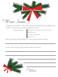 """Christmas Letter Template to Santa"""