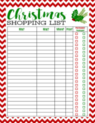 """Christmas Shopping List Template"""