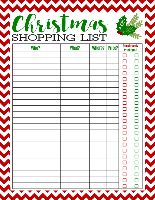 """""""Christmas Shopping List Template"""" Download Pdf"""