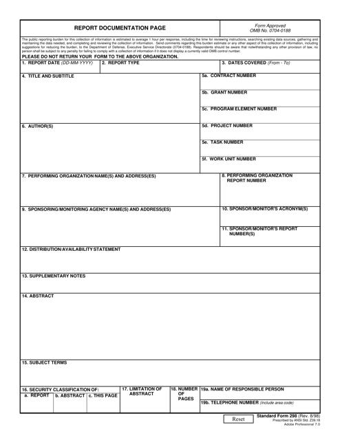 Form SF-298  Printable Pdf