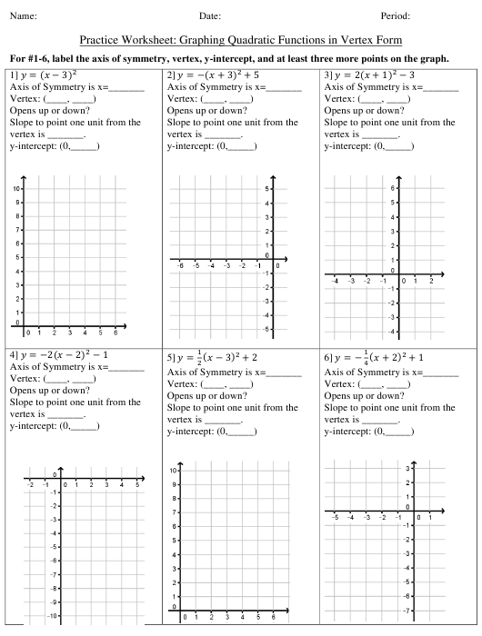 Graphing Quadratic Functions In Vertex Form Practice Worksheet With