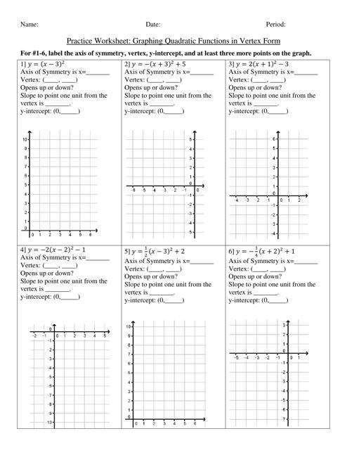 Graphing Quadratic Functions in Vertex Form Practice ...