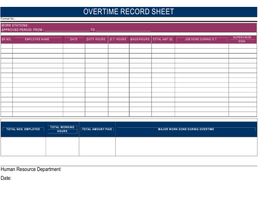 """Overtime Record Spreadsheet Template"" Download Pdf"
