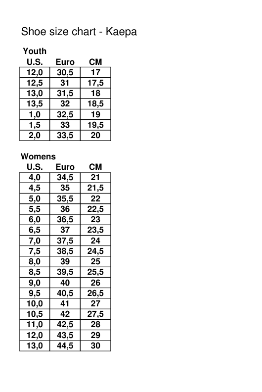 "Sample ""Youth and Women Shoe Size Chart - Kaepa"" Download Pdf"