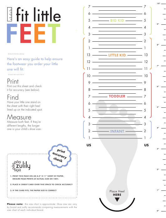 Sample Kids Shoe Size Chart Fit Little Feet Download Printable Pdf Templateroller