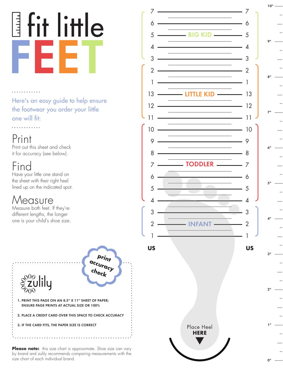 "Sample ""Kids Shoe Size Chart - Fit Little Feet"" Download Pdf"