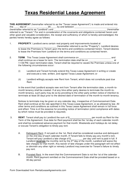 Texas Residential Lease Agreement Template Download Fillable Pdf