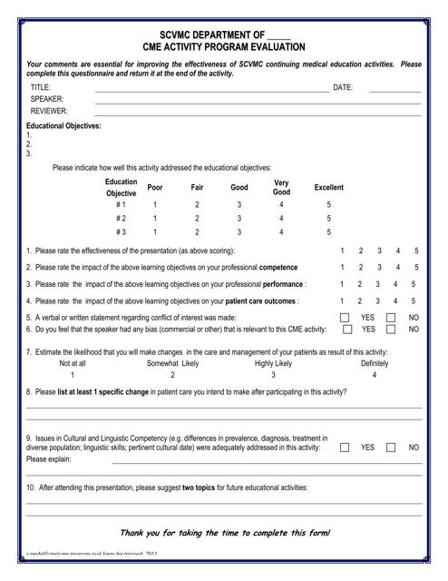 """Cme Activity Program Evaluation Form - Santa Clara Valley Medical Center"" Download Pdf"