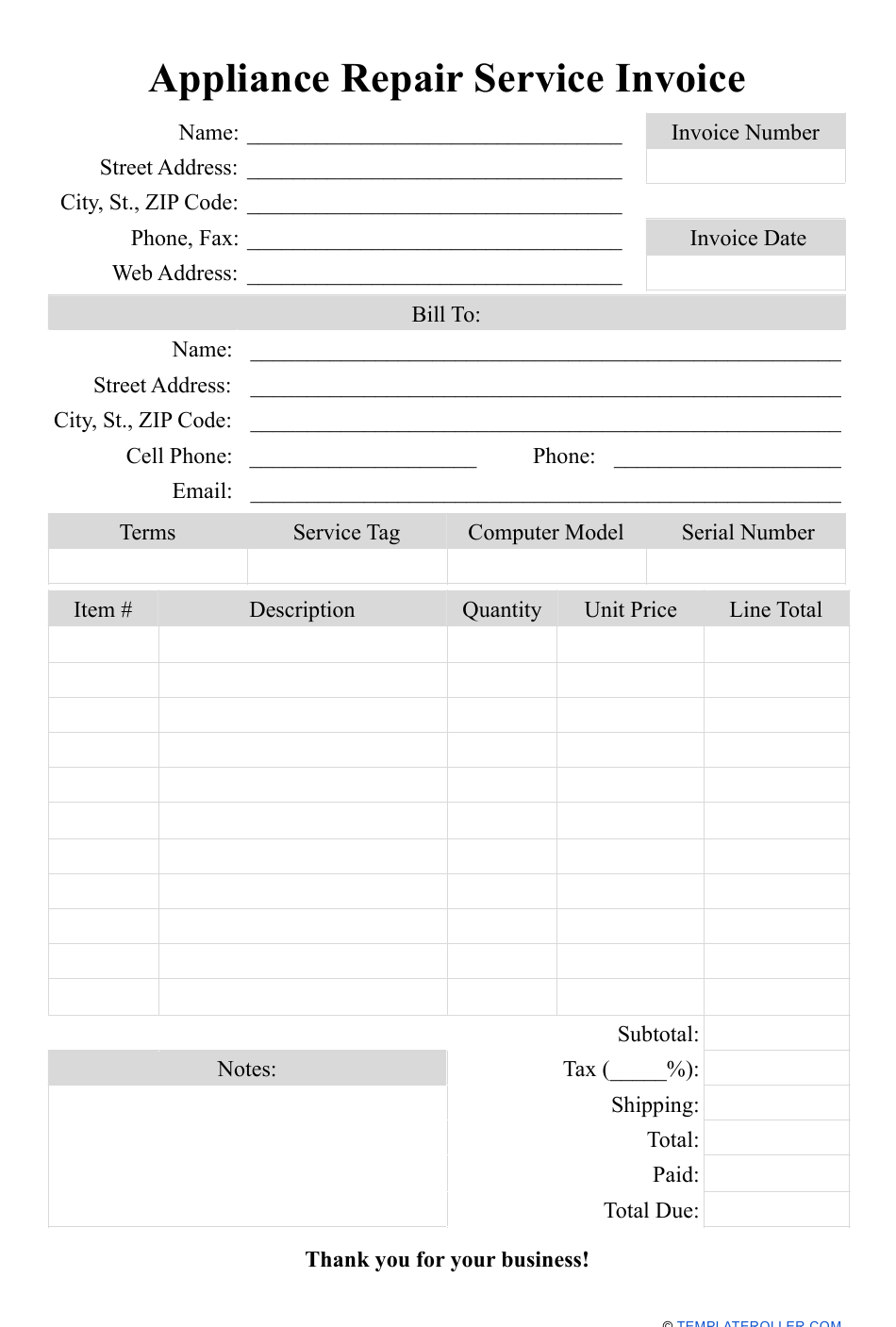 Appliance Repair Service Invoice Template Download Printable Pdf Templateroller