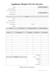 Appliance Repair Service Invoice Template