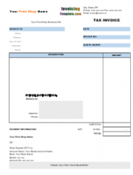 Printing Shop Tax Invoice Template