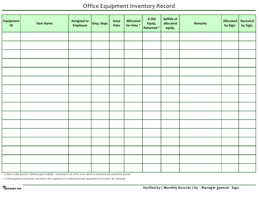 """""""Office Equipment Inventory Record Spreadsheet Template"""" Download Pdf"""