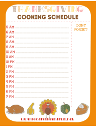 Thanksgiving Cooking Schedule Template
