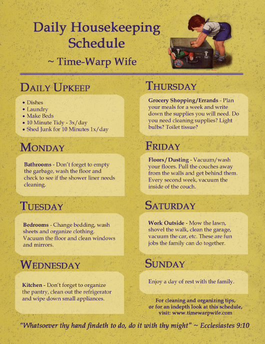 """Daily Housekeeping Schedule Template"" Download Pdf"