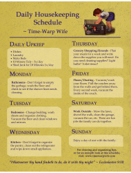 Daily Housekeeping Schedule Template