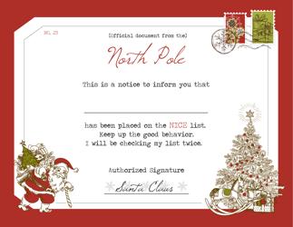 """""""Santa's Notice Certificate Template"""""""