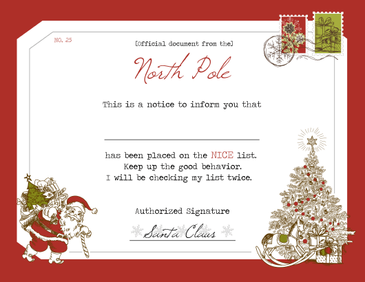 """Santa's Notice Certificate Template"" Download Pdf"