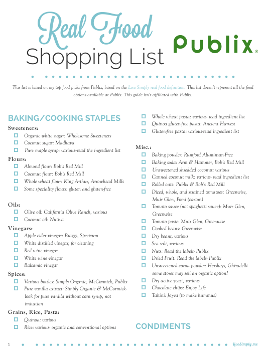 """""""Shopping List Template - Real Food Publix"""" Download Pdf"""