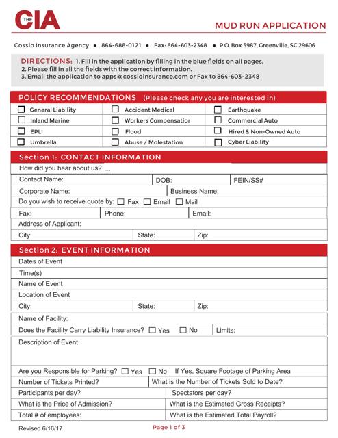 Mud Run Application Form - Cia Download Fillable PDF