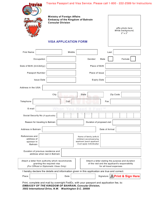 Bahrain Visa Application Form - Embassy of the Kingdom of
