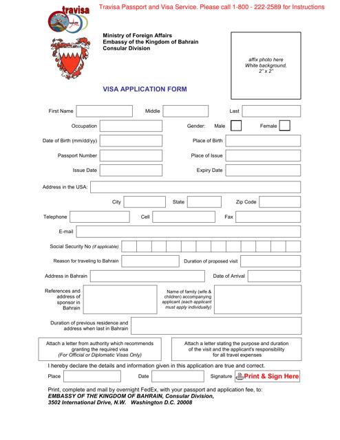 Washington D C Bahrain Visa Application Form Embassy Of The Kingdom Of Bahrain Download Fillable Pdf Templateroller