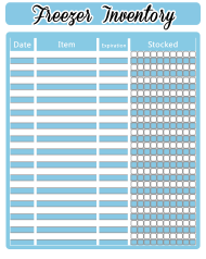 """Blue/White Freezer Inventory Spreadsheet Template"""