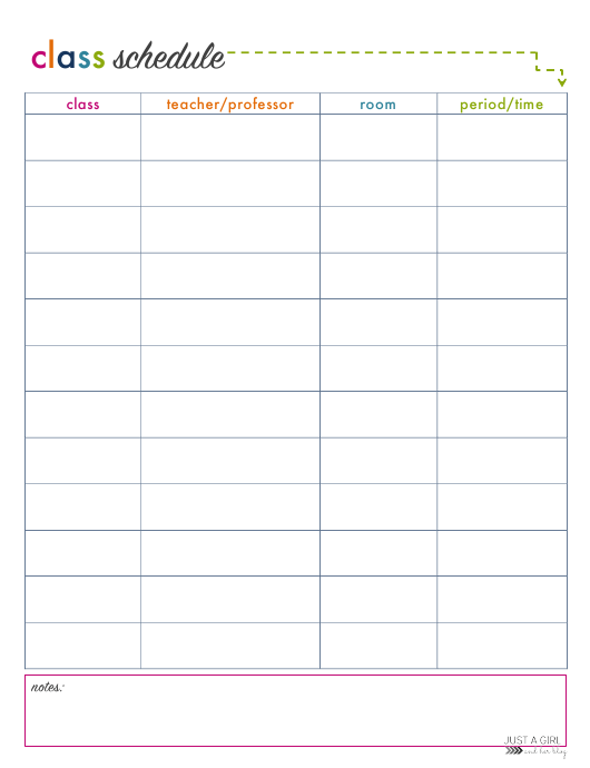 Daily Class Schedule Template Green Arrow Download Printable Pdf Templateroller