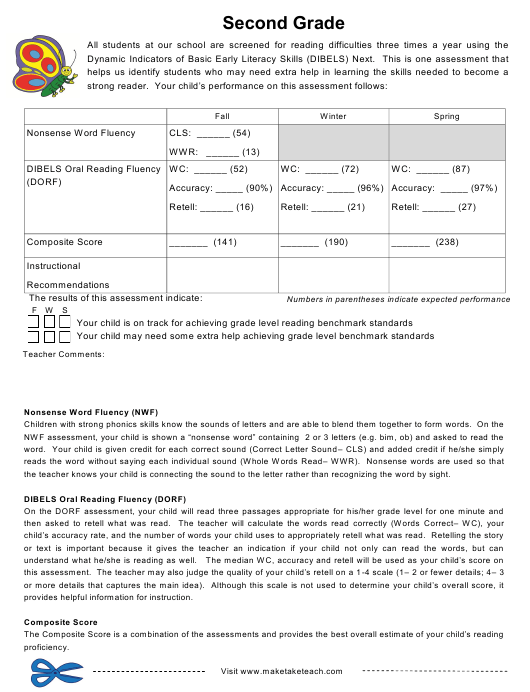 """""""Dynamic Indicators of Basic Early Literacy Skills Assessment Form - Second Grade"""" Download Pdf"""