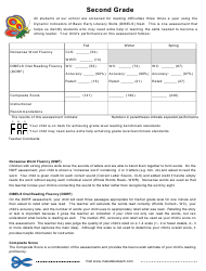 """""""Dynamic Indicators of Basic Early Literacy Skills Assessment Form - Second Grade"""""""