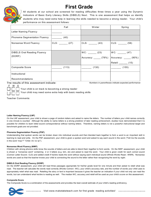 """""""Dynamic Indicators of Basic Early Literacy Skills Assessment Form - First Grade"""" Download Pdf"""