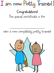 """Potty Trained Achievement Certificate Template"""