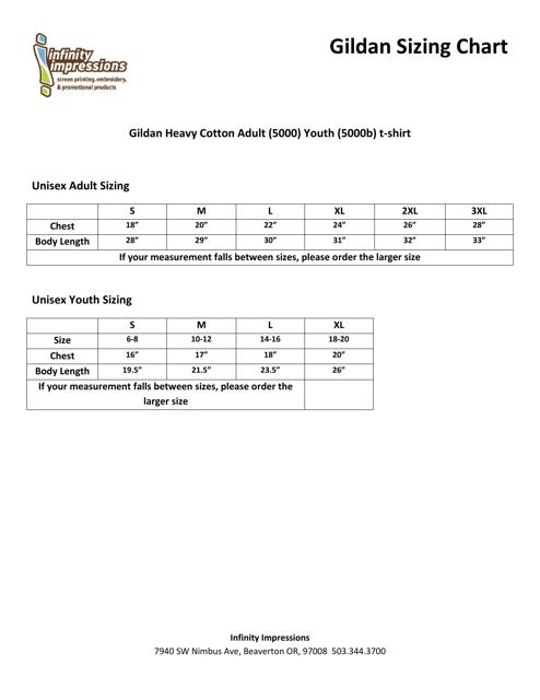 Gildan Heavy Cotton And Youth T Shirt Size Chart Pdf