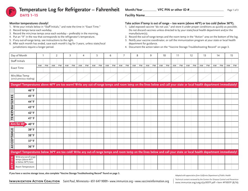"""Fahrenheit Temperature Log for Refrigerator (Vaccine Storage) - Immunization Action Coalition"" Download Pdf"