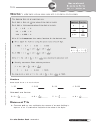 """Decimals and Expanded Form Worksheet - 5-th Grade, Chapter 1, Lesson 4a, Progress in Mathematics"""