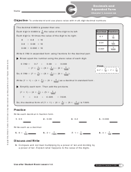Decimals and Expanded Form Worksheet - 5-th Grade, Chapter 1, Lesson 4a, Progress in Mathematics