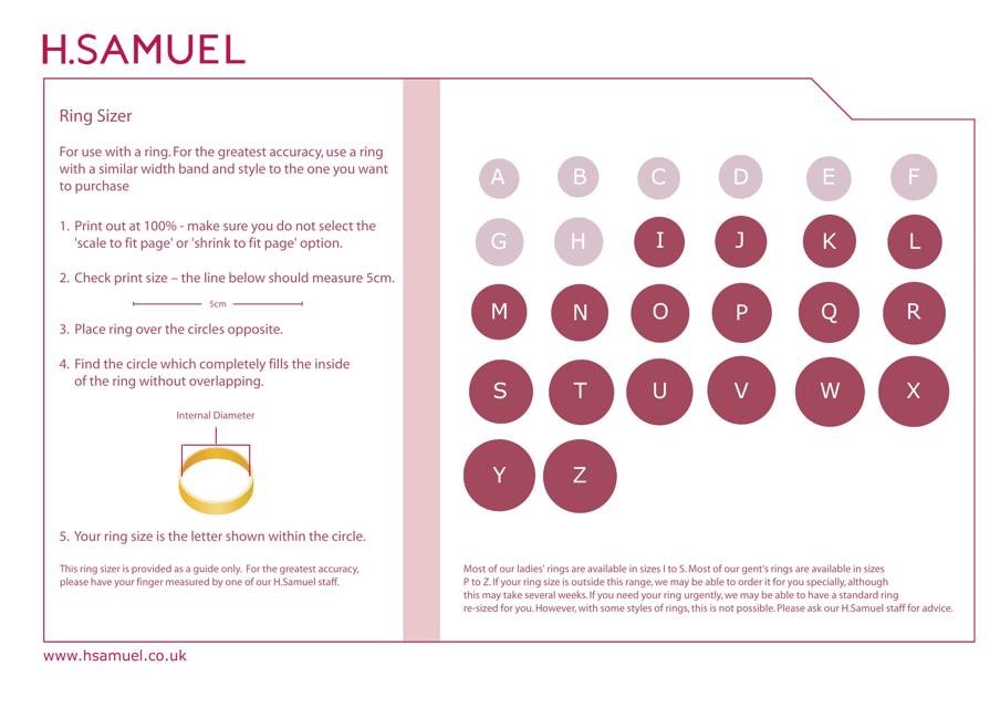 Ring Sizer Chart H Samuel Download Printable Pdf Templateroller