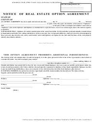 """Notice of Real Estate Option Agreement Template"""