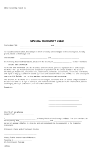 """Special Warranty Deed Form"" - Montana"