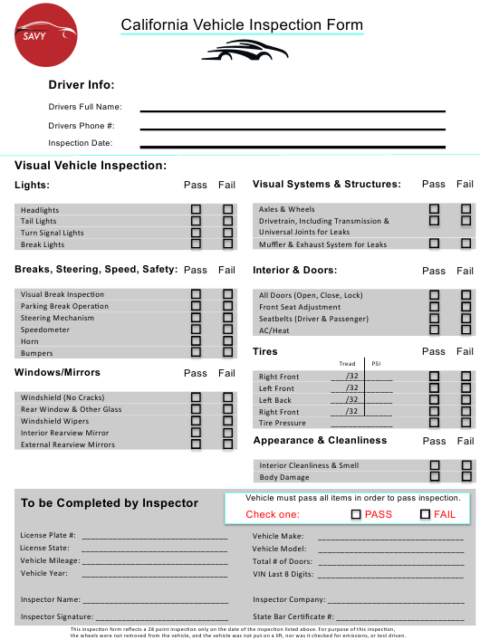 """California Vehicle Inspection Form - Savy"" - California Download Pdf"