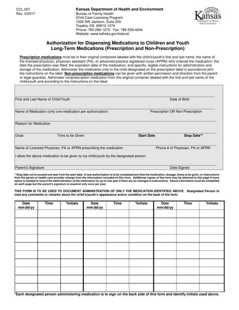 Form CCL.027  Printable Pdf