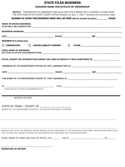 """""""Assumed Name Certificate of Ownership Form"""" - Texas Download Pdf"""