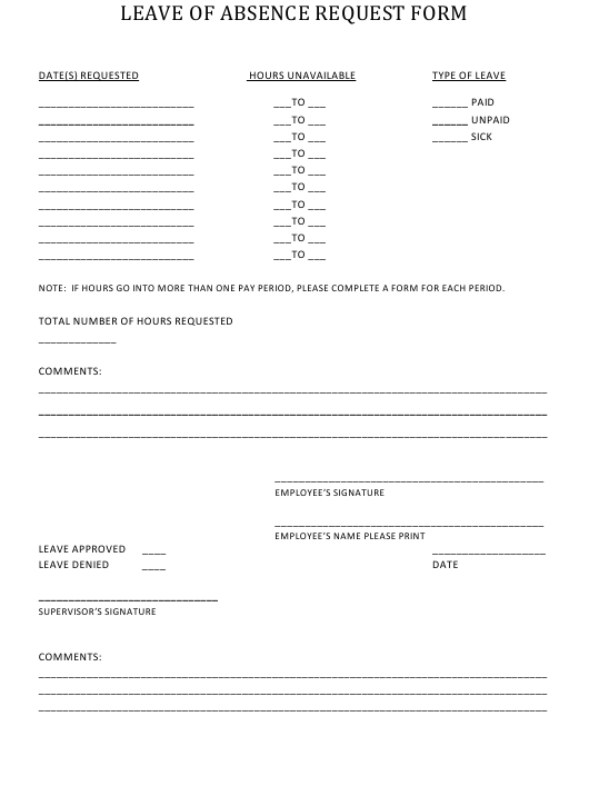 """""""Employee Leave of Absence Request Form"""" Download Pdf"""