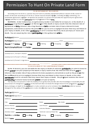 Permission to Hunt on Private Land Form - Indiana