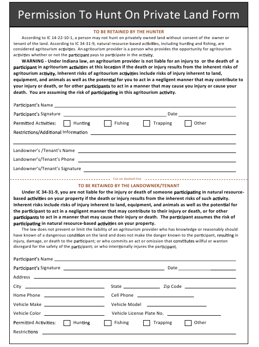 """""""Permission to Hunt on Private Land Form"""" - Indiana Download Pdf"""