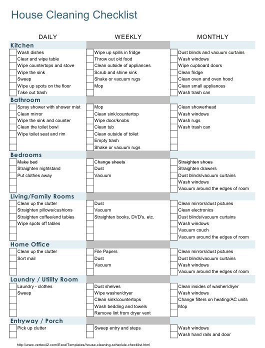 """""""House Cleaning Checklist Template"""" Download Pdf"""